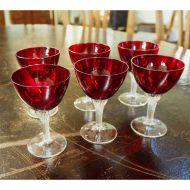 Set of  Ruby & Cut Glass Spirit Glasses