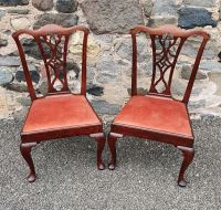 Pair of George 2nd Red Walnut Hand Chairs