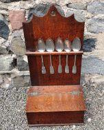 18th Century Oak Spoon Rack & Spoons