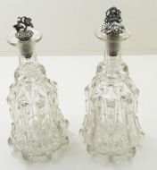 Pair of Edwardian Mallet Type Decanters