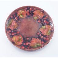 William Moorcroft Flambe Leaf & Berries Plate