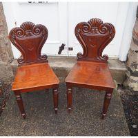 Pair of Scottish Mahogany Hall Chairs